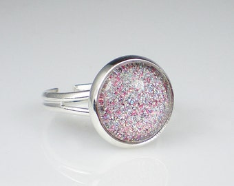 Holographic Glitter Nail Polish Ring Magic Attraction Sparkle Adjustable Ring Jewelry