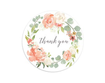Thank you stickers, Rose stickers, Floral wreath, Floral thank you stickers, Floral thank you tags, Flower thank you tags, Rose wreath