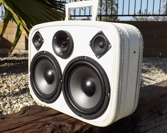 """SOLD Vintage Suitcase Boombox Recharagle Battery MP3 Player """"OREO BUMP"""" by Hi-Fi Luggage Stereo Speaker"""