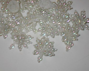 lot of 20... Beaded Appliques white or ivory