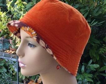 Womens Chemo Hat Alopecia Hat Cancer Hat All Season Hat Orange Corduroy MEDIUM
