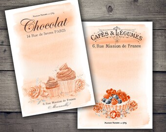 Vintage French Bakery - Cupcakes and Desserts Digital Collage Sheet Printables