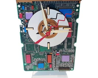 Circuit Board Clock Hand-Painted with Laptop Disk Platter, Amazing Geek Art. Got Holiday Gift, Office Gift, Gifts for Her?