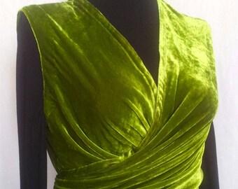 Draped wrap olive green silk velvet