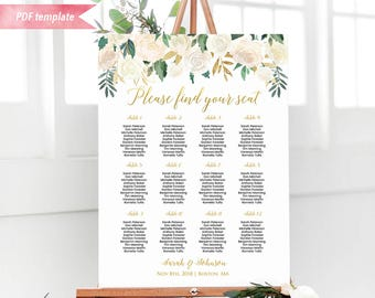 PrintableIvory Cream Floral Seating Chart Board, Gold Wedding Seating Plan PDF Template, 24x36 Large Wedding sign, DIY Instant Download #06