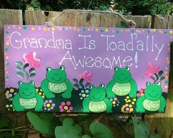 Personalized frog grandchildren plaque