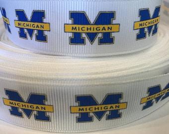 Michigan Ribbon - College Ribbon - 7/8 inch Grosgrain Ribbon-College Sports Ribbon-Michigan-DIY Craft Supply-Hairbows-Sports Bows