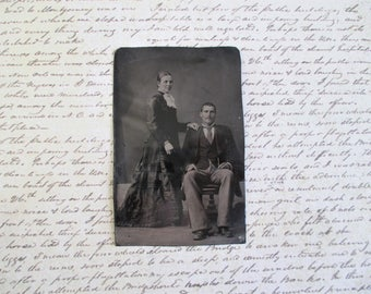 Vintage Tin Type - Man and Woman