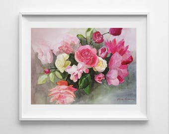 ORIGINAL watercolor painting, pink flowers, flower painting, flower watercolor, beautiful flowers, gift for mother, gift for wife, wall art