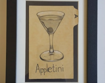 Original Graphite Drawing of an Appletini . Pencil . A is for Apple . Martini . Vintage Library Catalog Card . Hand Lettering . Martini Time