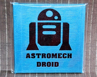 Astromech Droid Mini Canvas Magnet - Three by Three Inch