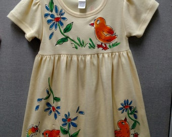 Chicks Rule Handpainted Short Sleeve Dress for Girls