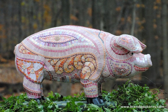 Some Pig Mosaic Pig Garden Statue One Of A Kind Mosaic On