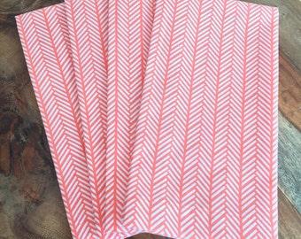Coral and White herringbone napkins-orange white chevron-Set of 2 or 4