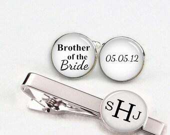 custom wedding cuff links, brother of the bride cuff links, custom round or square cufflinks & tie clips, custom name date photo initial etc