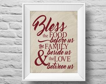 BLESS unframed art print Typographic poster, inspirational print, self esteem, wall decor, quote art. (R&R0152)