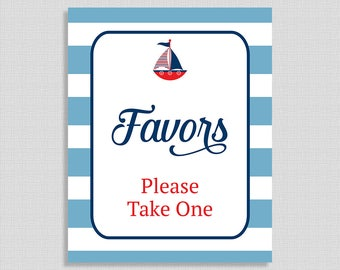 Favor Shower Table Sign, Little Sailor Red and Blue, Nautical, Shower Sign, Baby Boy, INSTANT PRINTABLE