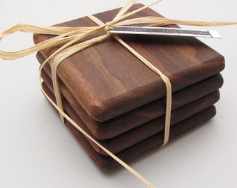 Black Walnut Wood Coasters Set Simply Natural Set of 4 - Timber Green Woods Sustainable Forestry Products