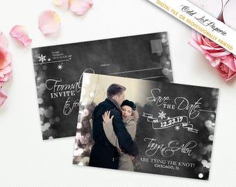 Winter Snowflake Save the Date Postcard, Rustic Wedding , Winter Wonderland Photo, PRINTABLE Digital File or Printed 4x6 Postcard, Template