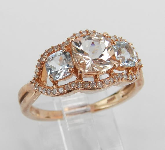 Cushion Cut Three Stone Morganite Aquamarine Diamond Engagement Ring Rose Gold Size 7
