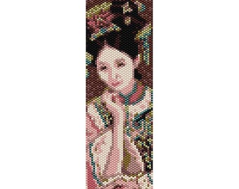 Vintage Lady 19 Peyote Bead Pattern, Bracelet Cuff, Bookmark, Seed Beading Pattern Miyuki Delica Size 11 Beads - PDF Instant Download
