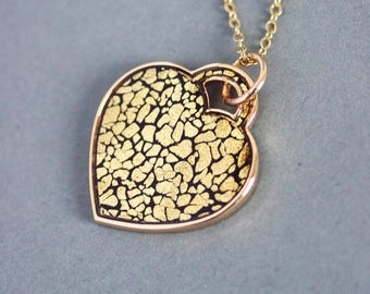 Mother's Day Gift Gold Heart Big Heart Necklace Gold Necklace Big Gold Pendant Gold Foil Necklace Heart Jewelry Gold Flakes Gold Necklace