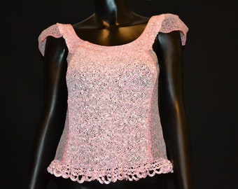 Hand knit pink lace blouse
