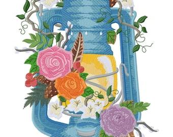 Woodland Lantern Embroidered on Hand Towel or Tea Towel
