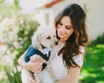 Navy Blue Dog Tuxedo,Dog wedding attire . dog formal wear, Dog suit , dog bow tie , dog wedding formal ring bearer,dog collar , dog tags,