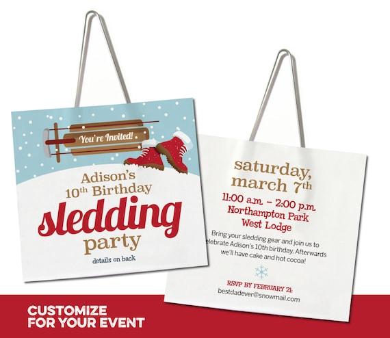 Sledding Birthday Party Lift Ticket Invitation Free