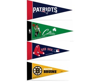 """Officially Licensed Mini Pennants Fan Pack Set Includes Patriots, Red Sox, Bruins, & Celtics 4"""" x 9"""""""