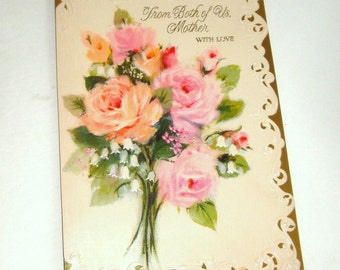 Vintage Birthday Card For Mother Happy Greeting Both Of Us Pink
