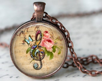 MUSIC NOTE Necklace Pendant Vintage G Clef Music Note Glass Pendant Handmade Jewerly Musical Pendant Gifts for Musicians romantic necklace
