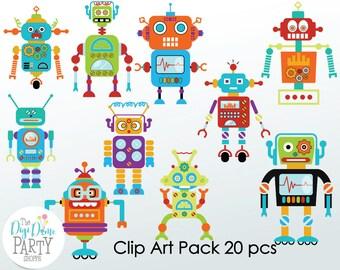 Robots Digital Scrapbooking Clip Art, Buy 2 Get 1 FREE. Instant Download
