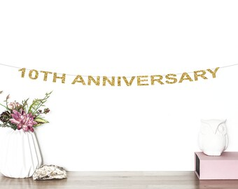 10th Anniversary Glitter Banner | Cheers To 10 Years | 10th Wedding Anniversary | Birthday | Anniversary Party Decor | 10th Party Banner