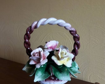 Capodimonte Basket of Roses - Hollywood Regency - Made in Italy and signed - VG to EX vintage condition - 1940's