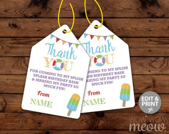 Pool Party Splish Splash Beach Ball Party Thank You Tags - Edit & Print - Cards Matching INSTANT DOWNLOAD Birthday Gifts Editable Printable