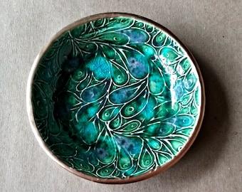 Ceramic Ring Bowl Ring dish ring holder  jewelry dish Peacock Green Gold edged