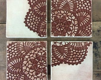 Lace printed coasters