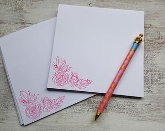 Pink Floral Cards // Set of 6 // Blank Cards // Floral Stationery // Note Card Set // Hand Stamped Cards //