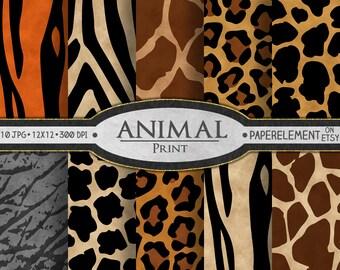 Animal Print Digital Paper: Animal Print Scrapbook Paper, Animal Print Backdrop, Animal Print Background, Tiger Print, Zebra Print Download