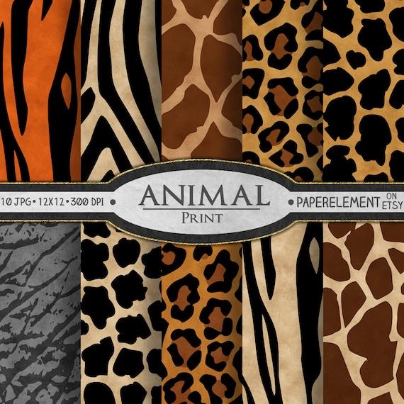 Animal Print Digital Paper Animal Print Scrapbook Paper