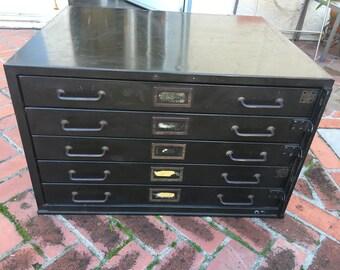 Filing cabinet etsy vintage 5 drawer industrial flat metal file cabinet malvernweather Images