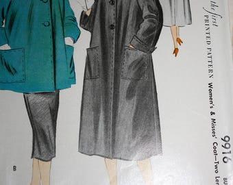 RARE Vintage 1950's Swing Coat Pattern---McCalls 9916---Size 14 Bust 32
