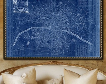 "Paris map 1792, Map of revolutionary Paris up to 72x48"" 180x120 cm large map of Paris, France, in 1 or 6 parts - Limited Edition of 100"