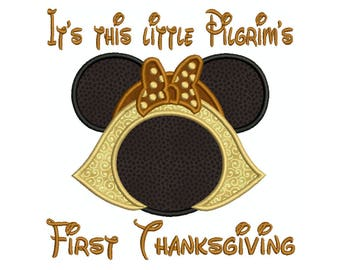 First Thanksgiving Pilgrim Saying Machine Applique Embroidery - Instant Digital Download