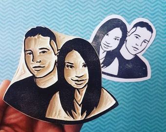 Personalized Couples Portrait Stamp - rubber stamp, thank you custom stamp, portrait stamp, wedding stamp