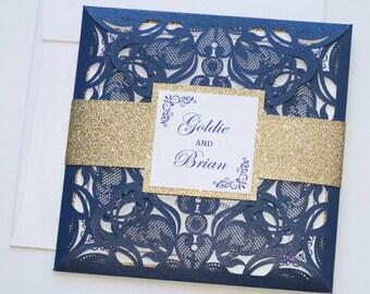 Laser Cut Wedding Invitation | Elegant Wedding Invite | Lace Wedding Invitation | Navy & Gold Glitter | Flourish | GOLDIE Sample