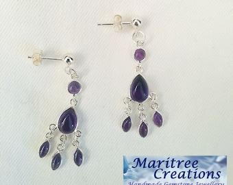 Amethyst and sterling silver chandelier earrings.