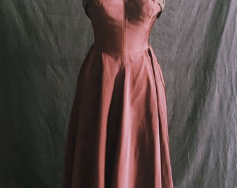 1950s Vintage Copper Strapless Gown